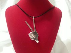 Fork Necklace, Peace Sign, Vintage, Silverware Jewelry