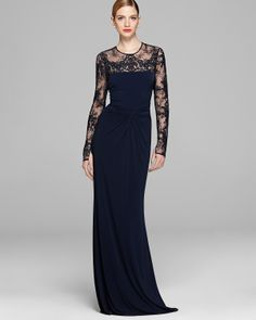 David Meister Gown - Long Sleeve Illusion Jersey with Drape Knot Detail | Bloomingdale's