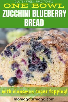 Recipes Gluten Free Blueberry Zucchini Bread has summer flavors of fresh blueberries and zucchini mixed into the best one-bowl quick bread. This easy zucchini bread recipe has simple adaptations to make a healthy or gluten free version. Blueberry Zucchini Muffins, Gluten Free Blueberry, Blueberry Bread, Blueberry Recipes, Gluten Free Zucchini Bread, Zucchini Bread Recipes, Healthy Zucchini, Fudge Recipes, Baking Recipes