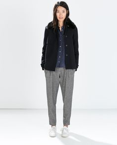 Image 1 of SHORT PATTERNED WEAVE WOOL COAT from Zara