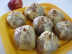 "Apples in a Bathrobe (Jablká v Župane) - apples stuffed with a nut filling, wrapped in a puff pastry ""bathrobe"", and baked in the oven until soft"