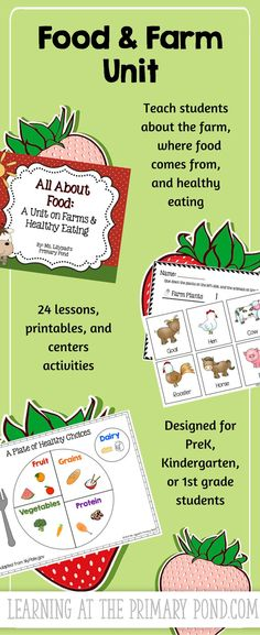 Use this unit to teach your students all about the farm and where food comes from!  At the end of the unit, students will share the healthy eating tips they've learned with other students in your school. $