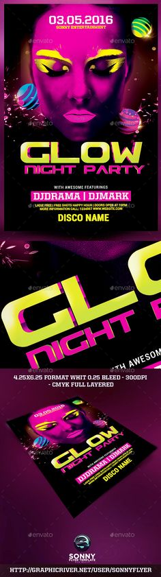Glow Party Flyer Template Psd  Party Flyer Flyer Template And