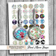 Floral Mirror Images 1 10mm 12mm 16mm 20mm for by MobyCatGraphics