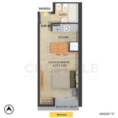 Studio Type Apartment, Studio Apartment Decorating, Container House Design, Tiny House Design, Small House Plans, House Floor Plans, Small Apartment Layout, Tyni House, House Construction Plan