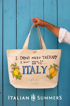 Shopper tote bag I DON'T NEED THERAPY, I JUST NEED TO GO TO ITALY by Italian Summers