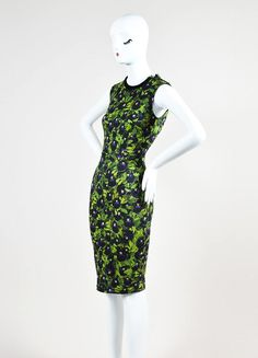 Givenchy Green, Black, and Purple Knit Pansy Print Zip Sheath Dress