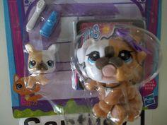 Littlest Pet Shop Favorite Pets Mommy #3587 & Puppy Baby #3588 Bulldog A6263 New
