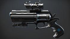 Sci-fi revolver concept, Stefan Volkering on ArtStation at https://www.artstation.com/artwork/sci-fi-revolver-concept