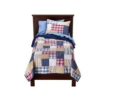 Circo Patches n Plaids boys full/queen size patchwork quilt blanket sham set NEW #Circo