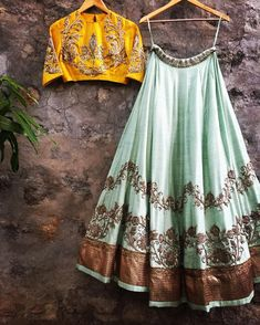 Buy Aqua Green - Yellow Embroidered Lehenga at Rs. Get Lehenga for womens at Peachmode. Indian Lehenga, Indian Gowns, Red Lehenga, Indian Attire, Indian Wear, Lehenga Choli, Anarkali, Yellow Lehenga, Bridal Lehenga