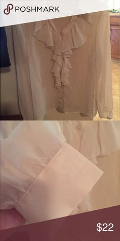 New Bradley bayou ruffled sheer blouse small New ruffled blouse size small by Bradley bayou semi sheer in ivory color..Check out my other listing for women and kids time to part with some of my favorite things 😀 most just came out of storage bins hence the wrinkles on some items but if I had to iron them all I would never get to list them lol..all items will be pressed as they sell bradley bayou Tops Blouses