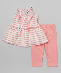Floral Stripe Shirred Tank & Leggings - Toddler & Girls #zulily #zulilyfinds