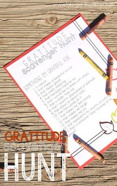 Gratitude Photo Scavenger Hunt This would be fun BB - Have these on a leaf surrounded by blank laminated leaves the kids can write on.