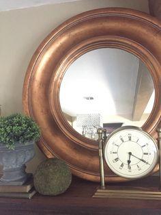 Large Gold Foil Round Mirror 42 inch Frame, Custom Elegant Wall Hanging Mirror