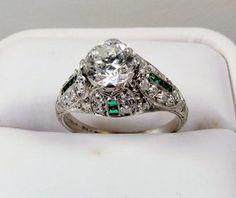 Edwardian platinum diamond emerald engagement ring $9850