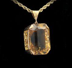 Beautiful 14k yellow gold estate necklace with stunning citrine and filigree pendant (C15032)  Abracadabra Jewelry/Gem Gallery - ESTATE JEWELRY