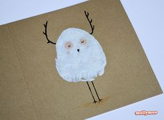 What better way to kick off this year's festive crafting than with some potato printed Christmas Cards, and this year it's the turn of a chubby lovesick snowman and an antler bird