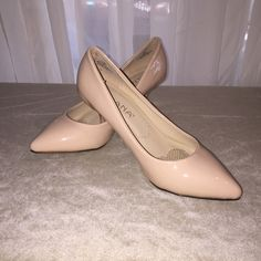"""2.5"""" POWDER PINK PUMPS THESE PUMPS ARE LIKE WALKING ON AIR!  The WET LOOKS MIMICS PATENT LEATHER. These can go with CUTE SKIRTS OR SLACKS, ANY DRESS  up to including a FORMAL! They are the heels for any occasions!  (They come with an extra pair of heel lifts) LILIANA Shoes Heels"""