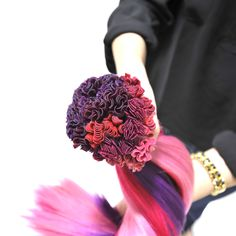 "A ""bouquet"" of 909 red, pink, purple Keratip extensions from The Hair Shop"