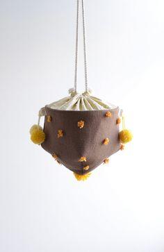 Acorn pompom bucket bag, dark brown and orange, small handbag on Etsy, $50.00