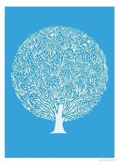 (Blue Tree Print, Houses and Birds, Identical Twins) I love finding a new artist and illustrator! It can be difficult to establish your own. Harry Potter Spell Book, Poster Prints, Art Prints, Tree Print, Color Shapes, Tree Designs, Autumn Trees, Design Art, Graphic Design