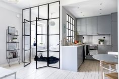 A Tiny Stockholm Apartment Makes the Most of 400 Square Feet - I would switch the kitchen & the bedroom.