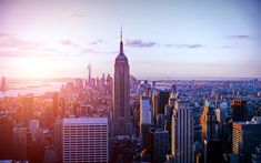 Download wallpapers New York, Empire State Building, morning, skyscrapers, cityscape, sunrise, World Trade Center 1, USA