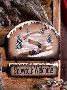 Painted Slate Welcome Signs | Painted genuine slate features a fun snowman sledding down the ...