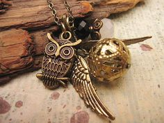 so cute! golden snitch and owl charm necklace