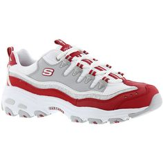 Skechers Sport D'Lites-New Retro Women's Red Sneaker (1 815 UAH) ❤ liked on Polyvore featuring shoes, sneakers, red, retro trainers, skechers, skechers footwear, skechers sneakers and red trainers