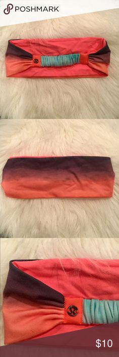 Lululemon Bang Buster Ombré Coral Headband Reversible Bang Buster Headband. Coral on one side and purple to Coral ombré on the opposite. Light blue across the back. Great condition! lululemon athletica Accessories Hair Accessories