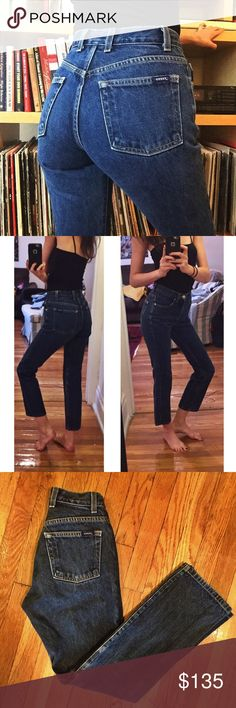"""🍍Vintage Guess Jeans 24 Dark Wash🍍 Amazing and GORGEOUS vintage Guess Jeans! 24"""" waist, 10"""" rise, 29"""" inseam! Great quality denim and these actually hug your butt! Upon purchase, I can cut off and fray the hem to any measurement if you'd like. Seriously BEAUTIFUL jeans! Not Levi's. Always cheaper on ♏️! Levi's Jeans"""