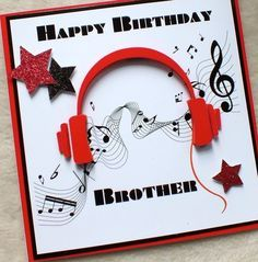 Handmade Brother 3D Music Headphones Birthday Card £4.80
