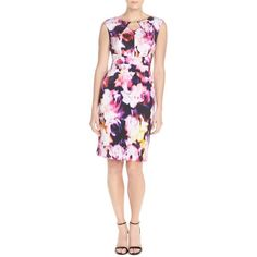 Ellen Tracy Floral Scuba Sheath Dress (815 VEF) ❤ liked on Polyvore featuring dresses, pink multi, metallic dress, ellen tracy dresses, floral print dress, sleeveless sheath dress and keyhole dress