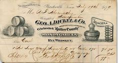 George A Dickel Company in Nashville, Tennessee.  Dated 2/19/1879.  Dickel dealt in Lincoln County Pure Sour Mash, Robertson County Whisky, Butler County Monongahela Rye Whiskey.