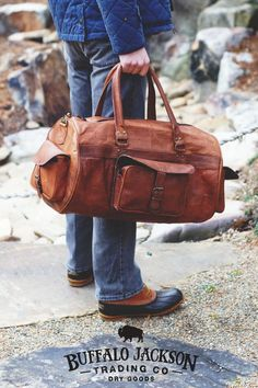 Mens vintage leather duffle bag. Genuine leather with antique brass rivets and hardware. Full grain leather, finished and tanned in camel. men's fashion | duffel bag leather | men's casual style