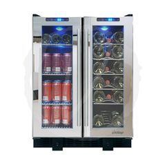 This locking beverage wine cooler features dual zones, dual-pane glass doors with mirrored trim and a sleek pole handles. The Vinotemp VT-36TS-SM features a soft glowing LED interior lighting illuminates your wine collection. Dual temperature controls with the push of a button with easy on the control panel.