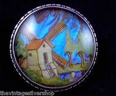 VINTAGE ENGLAND STERLING SILVER BUTTERFLY WING WINDMILL PIN BROOCH