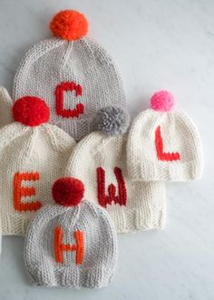 Monogrammed Hats for Everyone   Purl Soho Knitting For Kids, Loom Knitting, Knitting Stitches, Knitting Patterns Free, Free Knitting, Baby Knitting, Free Pattern, Hat Patterns, Yarn Projects