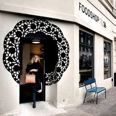 Foodshop no. 26 copenhagen, denmark beauty, spa, zen etc shop facade, shop fronts Design Shop, Shop Front Design, Cafe Design, Café Restaurant, Restaurant Design, Restaurant Entrance, Commercial Design, Commercial Interiors, Vitrine Design