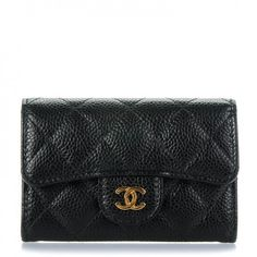 47b66255d0818 CHANEL Caviar Quilted Card Holder Black