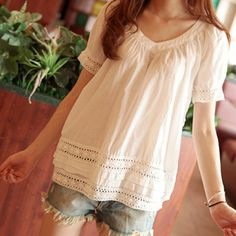 #SALE Sweet V-Neck Hollow Out Short Sleeves White Blouse Shop the #SALE at #SammyDress