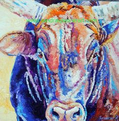 Original Bull Cow Oil Painting 12x12 painted by by mybunnies3