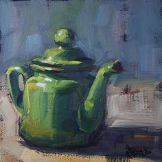Odd Little Green Teapot, painting by artist Cathleen Rehfeld