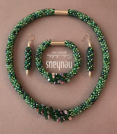 Kumihimo Necklace - Earrings - Bracelet - Emerald Green Forest Joy - Just So Hobbies Design