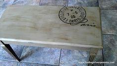 Painted Piano Bench with Carbon Paper Transfer