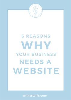 Read about 6 reasons why your business needs a website. Thinking about the ways to grow your business & credibility? A website can help you with that! Brand Identity Design, Branding Design, Logo Design, Business Checks, Business Tips, Blog Website Design, Blog Categories, Graphic Design Tutorials, Business Motivation