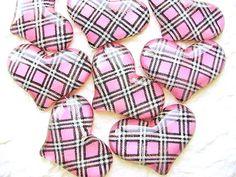 Kawaii Heart Cabochons 8 Pink DecoSweets