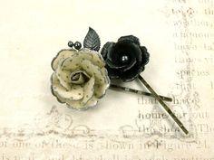 Neo Victorian hair pins. Vintage style flower hair accessories.